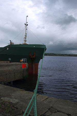 docked: acero barco atracado en la bah�a  Foto de archivo