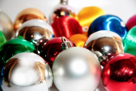 a selection of christmas balls and baubles photo