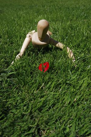art model man crawling in the grass photo