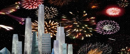 a city view of a firework celebrations photo