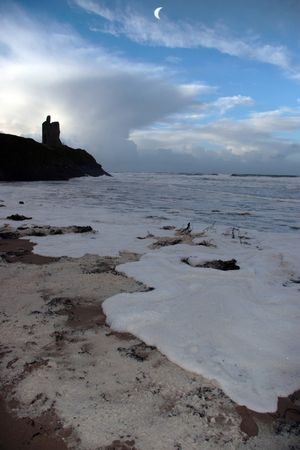 ballybunion: ballybunion castle ireland after a winters storm