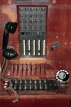 An old hand operated wooden telephone exchange Stock Photo