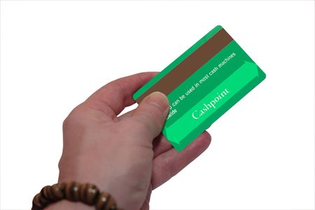 a man holding a credit card (made up fake card ) with clipping path Stock Photo - 2846509