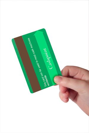 a child holding a credit card (made up fake card ) with clipping path Banco de Imagens