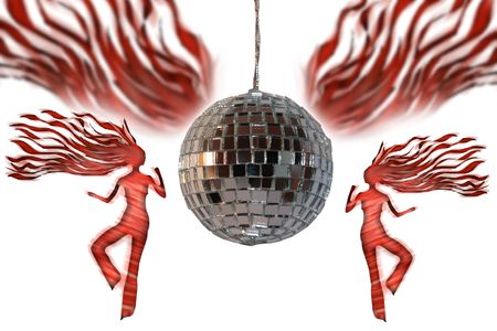 girls dancing under a disco ball with clipping path Stock Photo - 2846537