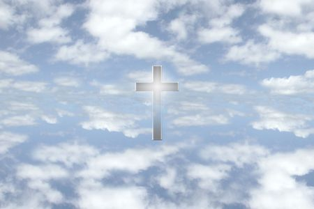 a cross among some bright puffy couds on a glorious day Stock Photo - 2846562