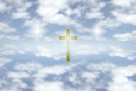 a gold cross among some bright puffy couds on a glorious day Stock Photo - 2846560