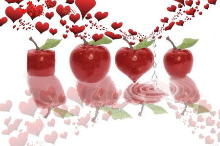 four red apples of various shapes on a white background with rain drops and love hearts