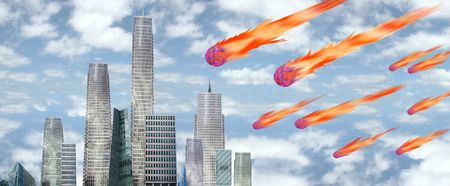 a city facing a disaster from the sky above Stock Photo - 2846545