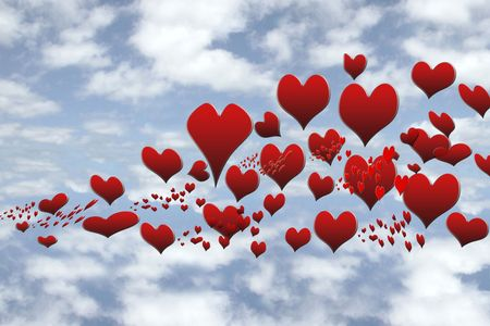 a lot of hearts floating in the sky heavenly