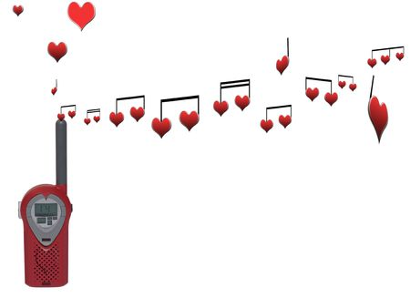 love messages being sent over the airwaves on a white background