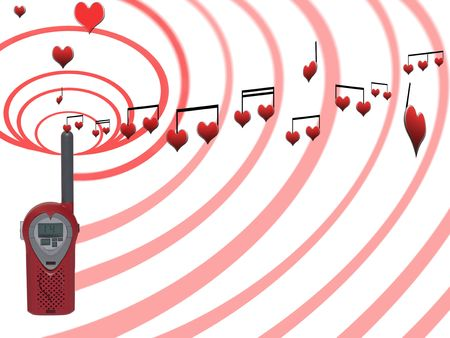 declaring: love messages being sent over the airwaves on a white background