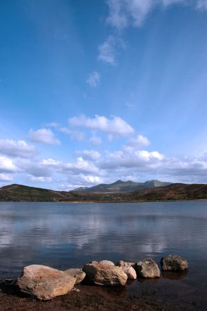a view fom the shore of carragh lake in county kerry in ireland