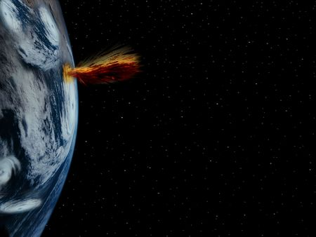 severe weather: a simple background of the earth and stars at night in the sky of our own universe with a severe weather system and eruption due to global warming Stock Photo