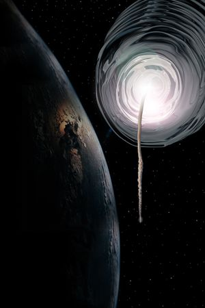 a worm hole opens with a space ship returning to the earth and stars at night in the sky of our own universe Stock Photo - 3114257