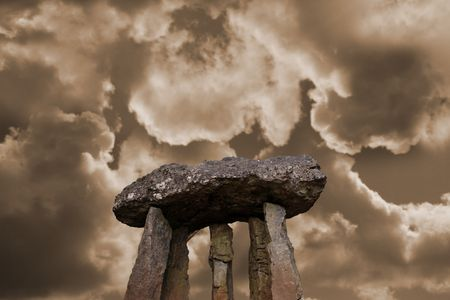ancient standing stone monuments in county limerick ireland.includes clipping path Stock Photo