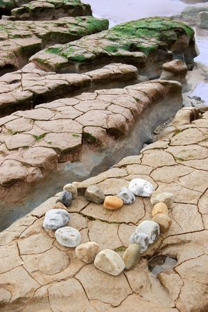 a  heart arranged with stones on the west coast of ireland near ballybunion photo