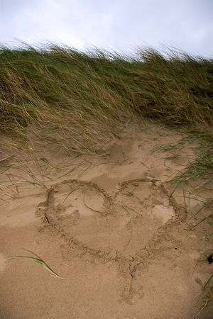 a love heart written in the sand on the west coast of ireland near ballybunion Stock Photo - 3177904