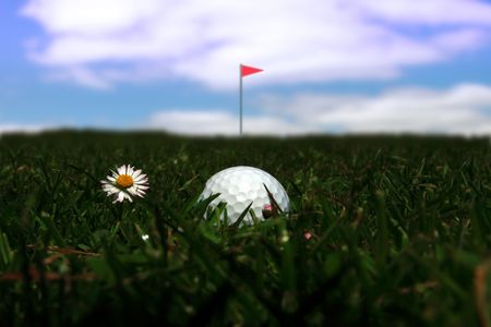 bounds: a golf ball in the rough with the flag in the distance