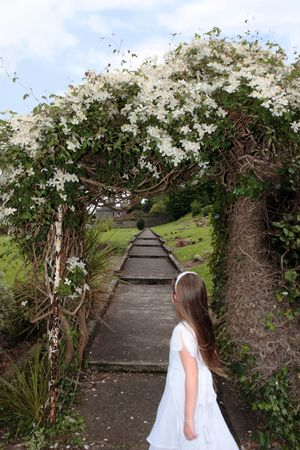 portrait of a young girl on her first communion in ireland