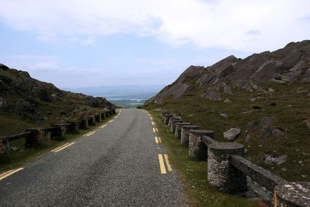 kerry: an evenings view of winding roads through the mountains of kerry