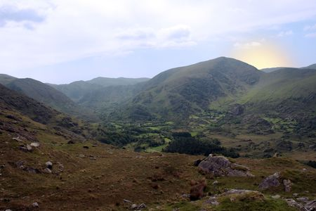 an dawn view of winding roads through the mountains of kerry photo