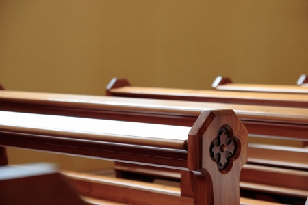 empty pews at a church in ireland Stock Photo