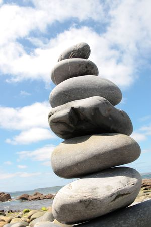 stones stacked on top of each other to show creativity Stock Photo