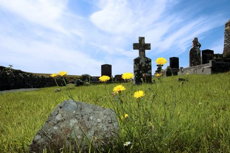 an old irish graveyard in Kerry on the west coast of Ireland