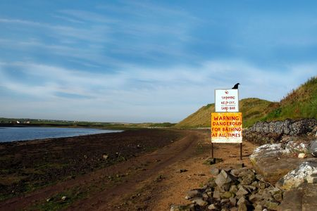 a warning sign for no swimming in kerry ireland photo
