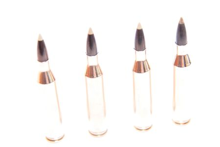projectile: ammunition all in a row on a white background