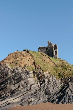 kerry: ballybunion castle on the rocks in the west coast of ireland Stock Photo
