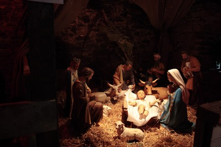 scene of the birth of christ in a stable Stock Photo - 4573975