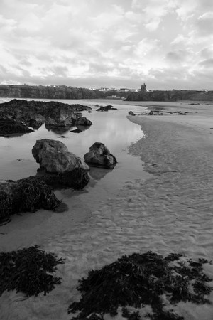 bw: ballybunion by the sea on a cold grey evening