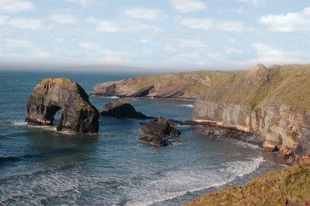 kerry: a view of the virgin rock in ballybunion ireland as seen from the cliffs