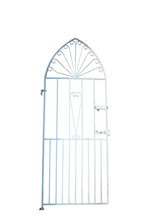 pearly gates: a white wrought iron gate