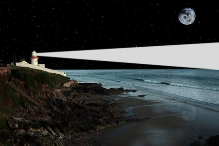 lighthouse captured on the high ground overlooking the cliffs at night photo