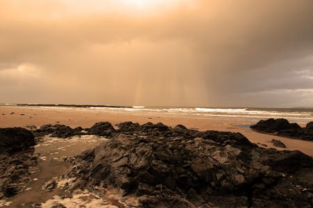 ballybunion beach as a storm gathers power on the horizon Stock Photo - 4813054