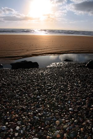 a pebble beach near ballybunion in county kerry ireland at sunset Stock Photo - 4813039