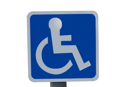 universal wheel chair sign isolated on white  photo