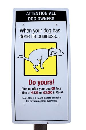 sign warning about fines for dogs fouling photo