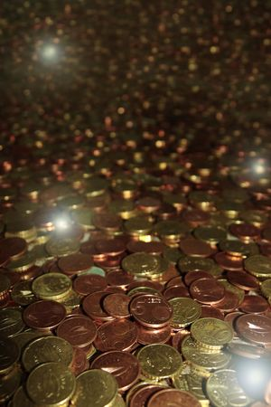 lots of loose change in euro cents and other coins Stock Photo - 5335009