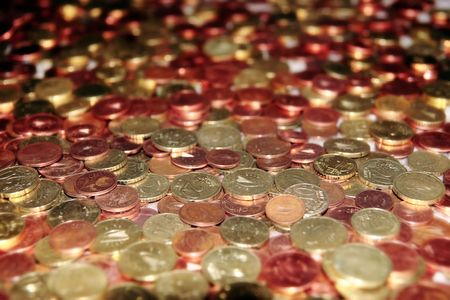 lots of loose change in euro cents and other coins Stock Photo - 5335010
