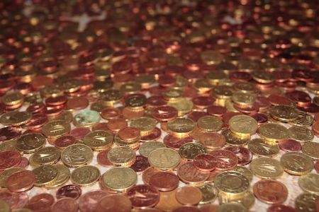 lots of loose change in euro cents and other coins Stock Photo - 5335000