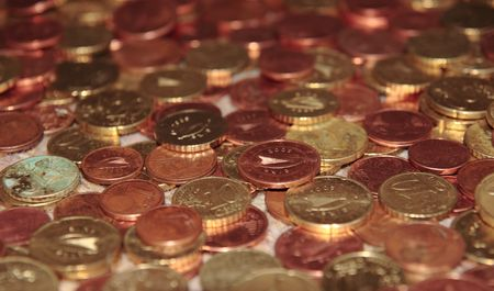 lots of loose change in euro cents and other coins Stock Photo - 5335022