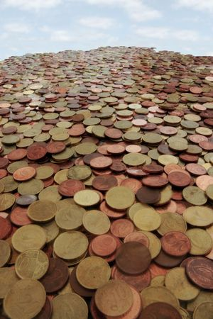 lots of loose change in euro cents and other coins like a mountain Stock Photo - 5335015
