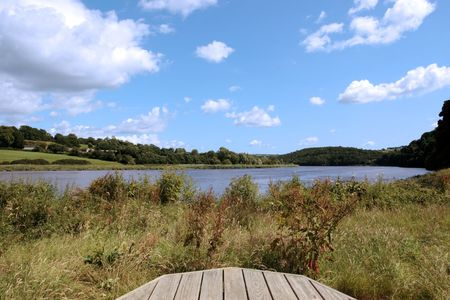 a picnic bench in knockanore county waterford in the south of ireland in summer on the blackwater river edge Stock Photo - 5503898