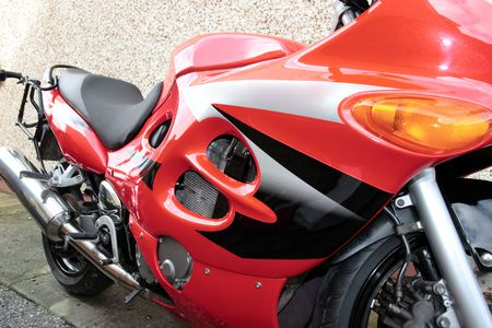 a parked red super sports motor bike Stock Photo - 5503889