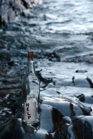 a bottle with a help message standing on a rocky coastline Stock Photo - 5631733