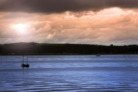 youghal: boats on the river edge in youghal a beautiful irish town on the coast Stock Photo